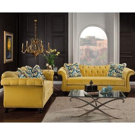 furniture of america agatha two yellow tufted sofa