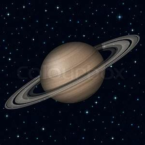 Space background, realistic planet Saturn and stars ...