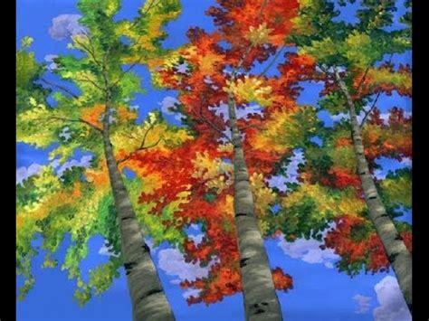 comment peindre les arbres de peupliers a l acrylique sur la toile une grande murale