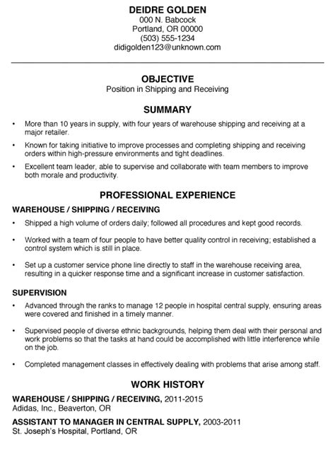 Functional Resume Sample Shipping And Receiving