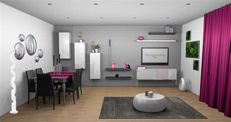 d 233 co salon m 251 r gris et blanc touche de couleur fushia living room salons