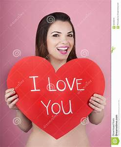 Woman Holds Big Red Heart I Love You In Her Hands Royalty ...