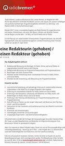 Radio Bremen Next : radio bremen sucht redakteur in gehoben radioszene ~ Markanthonyermac.com Haus und Dekorationen