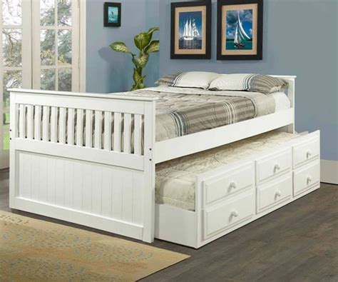 mission size captains trundle bed white bedroom furniture beds donco trading