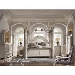 Monte Carlo II Canopy Poster Bedroom Set (Silver Pearl) Aico Furniture   Furniture Cart