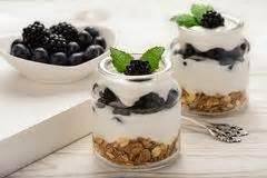 healthy breakfast with blackberries blueberries stock