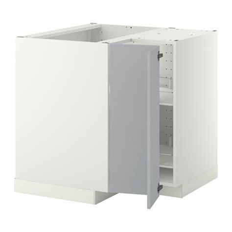 metod corner base cabinet with carousel white veddinge grey 88x88 cm ikea