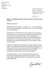 lettre de motivation bts technico commercial mod 232 le de lettre
