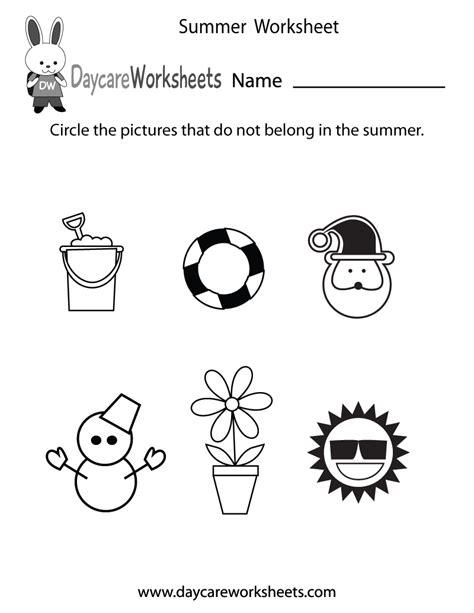 Free Preschool Summer Worksheet