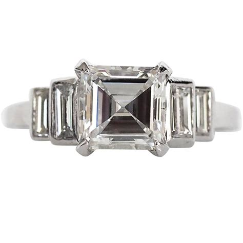 1940s deco 1 48 carat antique asscher cut platinum engagement ring at 1stdibs