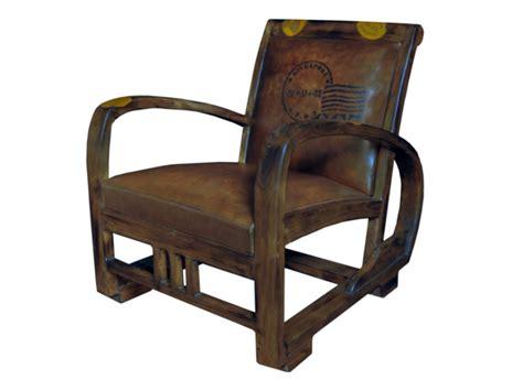 fauteuil cuir vieilli marron structure teck travel