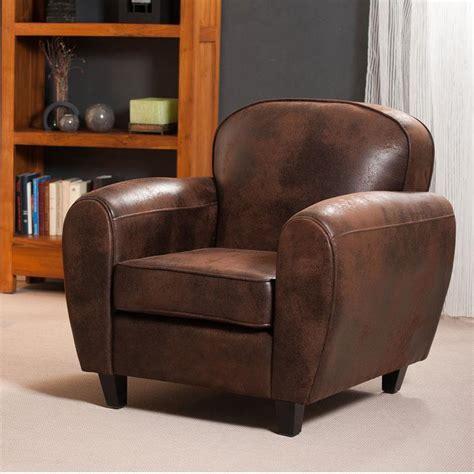 fauteuil club en microfibre aspect cuir vieilli chocolat zia