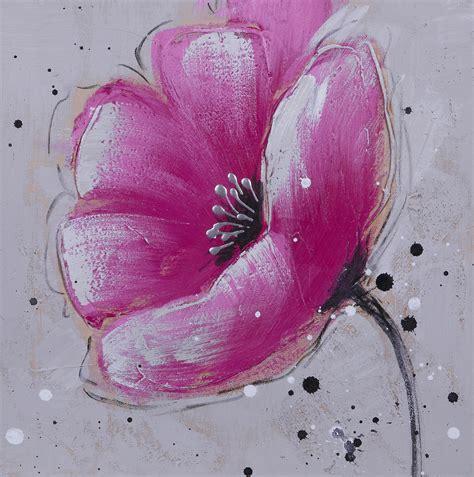tableau peinture sur toile fleur velvet flowery 1 30x30cm deco toile et orange