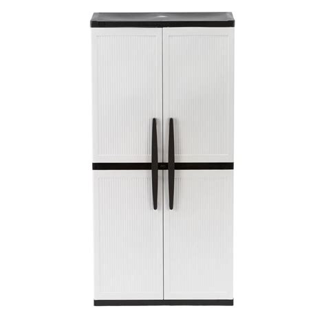 hdx 35 in w 4 shelf plastic multi purpose cabinet in gray 221872 the home depot