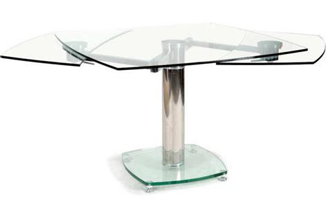 table carr 233 e avec allonges plateau verre transparent loan design sur sofactory