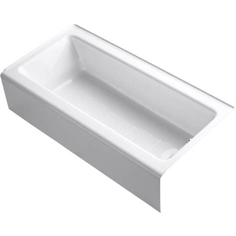 bootz cast iron bathtub shop kohler bellwether 60 in white cast iron alcove