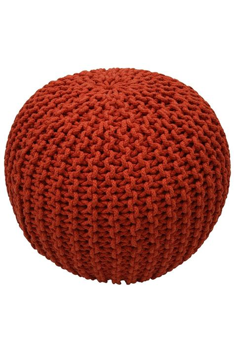 orange knitted pouf to sit on knit and crochet