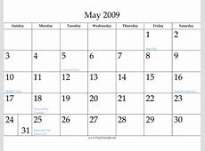Printable May 2009 Calendar
