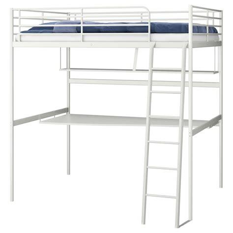 ikea tromso svarta loft bed frame metal desk and shelf top