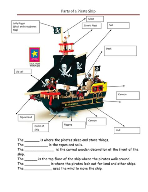 Ship Parts Names by Pirates By Ppateacher Uk Teaching Resources Tes