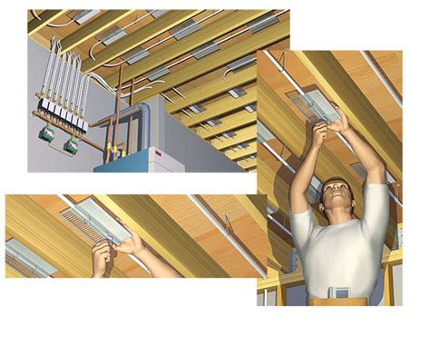 using pex tubing heat transfer plates the floor for radiant heating