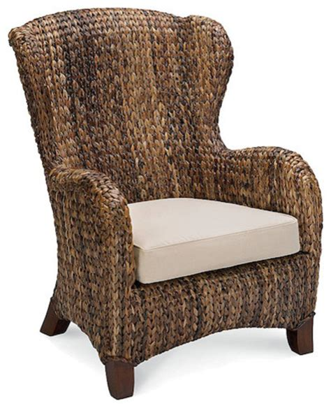 seagrass wingback armchair traditional outdoor lounge chairs by pottery barn