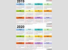 20192020 Calendar free printable twoyear PDF calendars