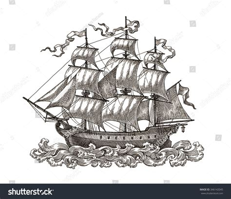 Medieval Boat Drawing by Ink And Pen Drawing Ancient Sail Ship On White