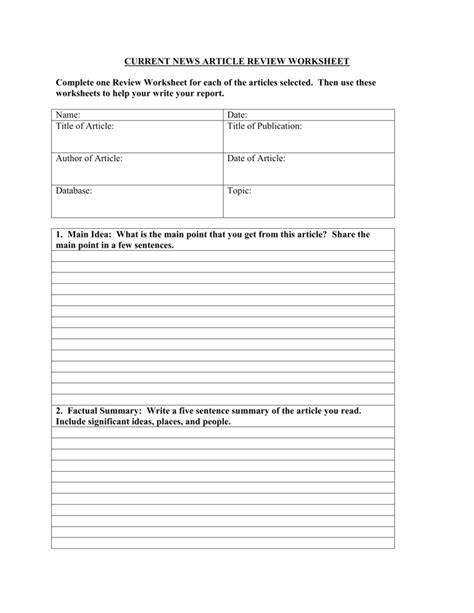 Article Review Worksheet Worksheets For All  Download And Share Worksheets  Free On