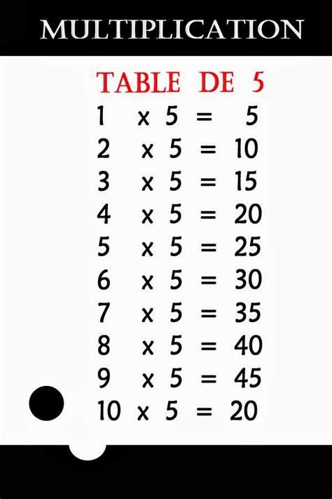 poster fmr table de 5 multiplication calcul mentale