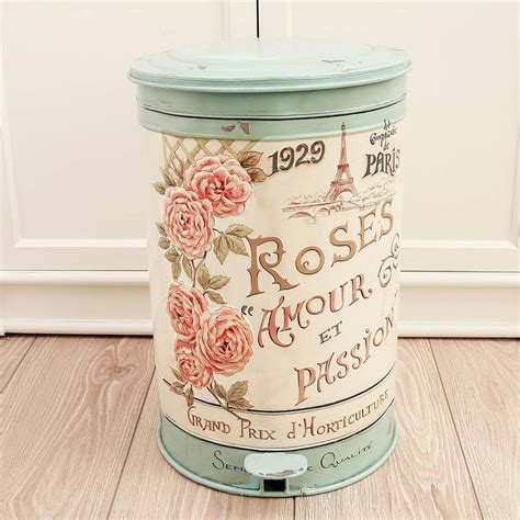 vintage roses armour pedal bin by dibor notonthehighstreet
