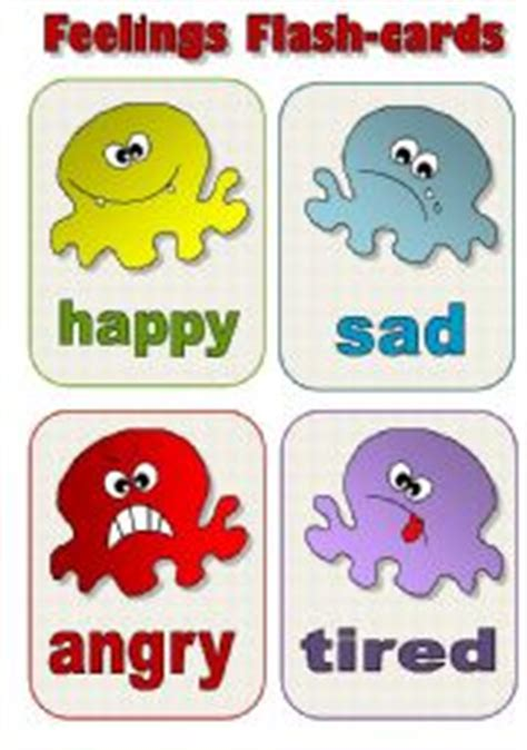 Feelings Flascards!  A Set Of 12 Editable!!!!!! Flashcards For Kids  Esl Worksheet By