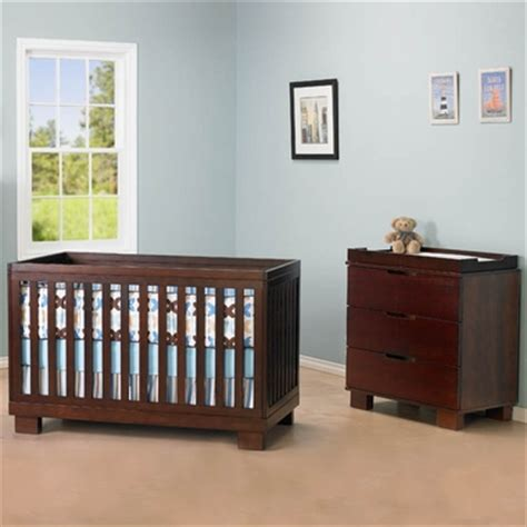 modern babyletto 2 nursery set modo 3 in 1 convertible crib and 3 drawer dresser changer