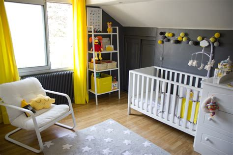 decoration chambre jaune et gris visuel 8
