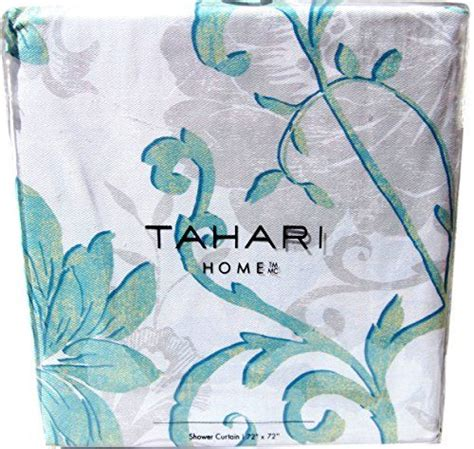 tahari large damask floral scrolls cotton shower curtain
