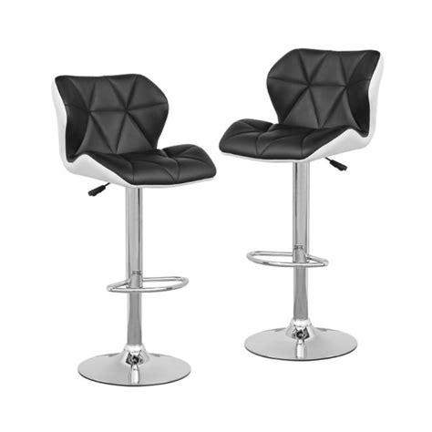lou lot de 2 tabourets de bar simili cuir noir blanc best mobilier