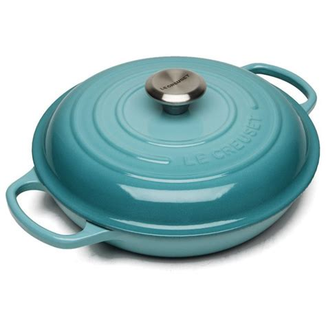 le creuset signature cast iron shallow casserole dish 26cm teal iwoot