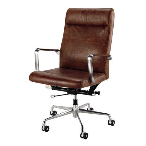 fauteuil de bureau 224 roulettes en cuir et m 233 tal marron maisons du monde