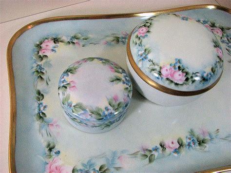 limoges antique vanity dresser set painted porcelain from oldndazetreasures on