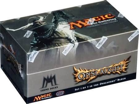 onslaught preconstructed theme deck box with 12 decks mtg magic the gathering sealed product