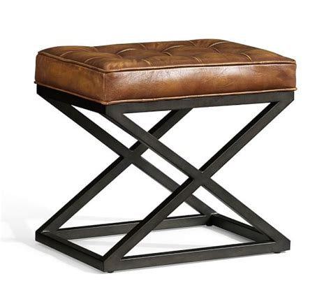 kirkham tufted leather x base stool pottery barn