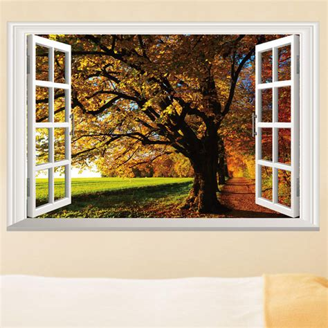 removable fall trees 3d window view scenery wall sticker home decor pvc mural decal in wall