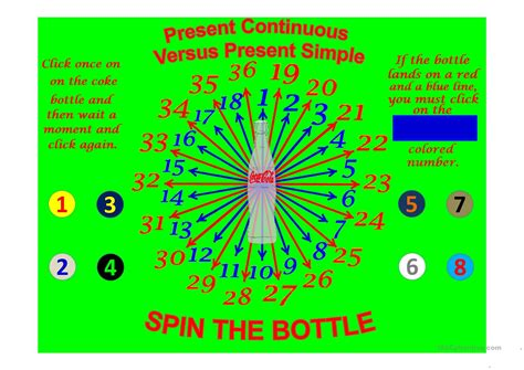 Spin The Bottle Present Continuous Versus Present Simple Worksheet  Free Esl Projectable