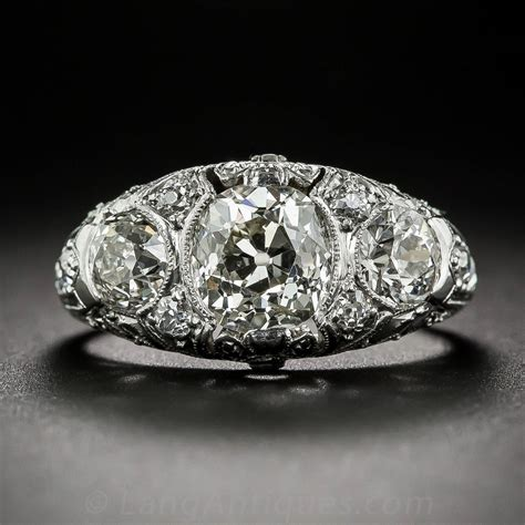 early deco platinum three ring for sale at 1stdibs