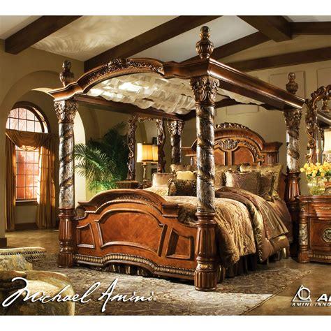 Michael Amini Bedroom Set by Michael Amini 5pc Villa Valencia King Size Canopy Poster