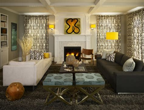 houzz living room curtains greys with splashes of lemon yellow make this family room
