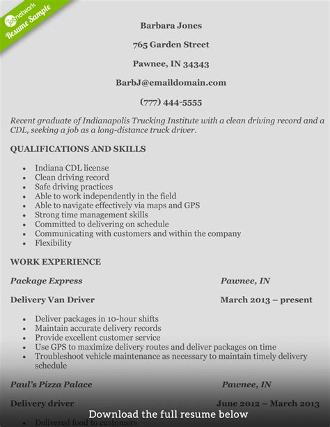 How To Write A Perfect Truck Driver Resume (with Examples