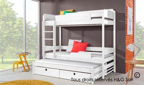 lit enfant superpos 3 couchages en bois massif avec rangements