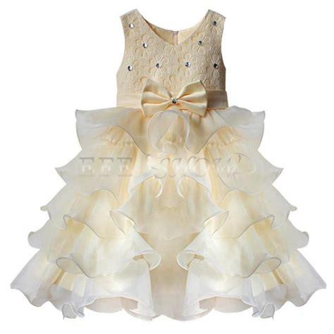 enfant fille b 233 b 233 princesse robe tenue de soir 233 e mariage ceremonie bapteme beige ebay
