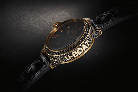 U Boat Watch With Diamonds by U Boat Black Swan 18kt Yellow Gold Black Diamonds Black